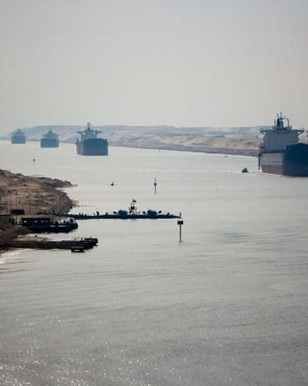 The Suez Canal on a normal day.