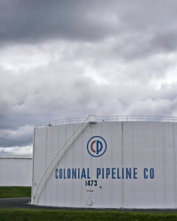 Colonial Pipeline storage tanks. On May 7, 2021, the company experienced a ransomware cyberattack. (AP Photo/Seth Wenig)