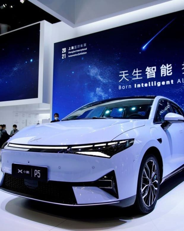 An Xpeng P5 on display during at the Auto Shanghai show in Shanghai in April 2021. Photo: Reuters