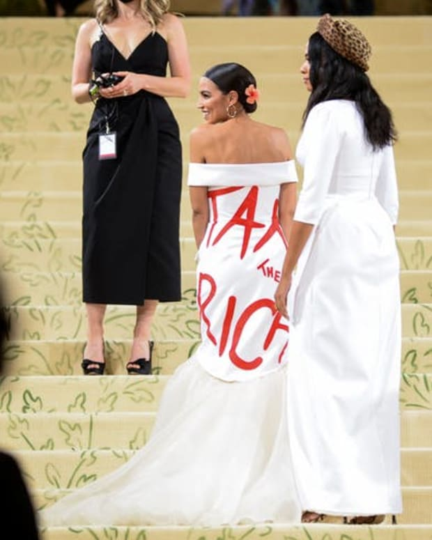 U.S. Rep. Alexandria Ocasio-Cortez making a fashion statement.