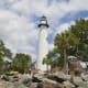 St. Simons Island, Ga.-- Living in affluent St. Simons Island, the southernmost community in Georgia, could be like going to paradise. There are beautiful sandy beaches, luxurious homes, and summer lasts for 7 months. Above, the lighthouse of St. Simons Island.