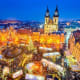 PragueDates: Dec. 1, 2018 - Jan. 6, 2019Already a stunningly beautiful city, at Christmastime Prague becomes magical with its elegant old houses, palaces, towers, cobblestoned streets and baroque squaresgarnished in holiday lights and colors. Pictured is the old square and Tyn Church.Photo: Shutterstock