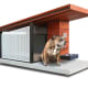 The Canine's Passive Solar Condominium $3,700 atHammacher SchlemmerA personalized doghouse built with a passive solar design worthy of a spread in Architectural Digest, says Hammacher Schlemmer. Passive solar design cools during the summer and heats in the winter without the use of photovoltaic panels.This Frank Lloyd Wright-inspired dog house doesn't stop there. It has a Brazilian teak roof with an overhang, and a removable perforated side panel for additional ventilation. In the winter, the window's glazing allows sunlight to pass through and be absorbed by the concrete floor to provide a cozy repose for a dog to snooze. Wait, there's more! It includes a 3.5-inch-thick Jax & Bones memory foam pillow, built-in twin stainless steel pet bowls, and a personalized, raised-letter sign with your dog's name.Photo:Hammacher Schlemmer