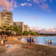Waikiki Beach, HonoluluOahu's best known and most popular beach, this two-mile beach has several sections, and visitors can enjoy surfing, paddling, snorkeling, swimming, boogie boarding, sand combing, or just people watching.Photo: Jeff Whyte / Shutterstock