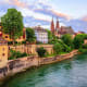 10. Basel, SwitzerlandAbove, Basel with its red stone Minster cathedral and the Rhine river.Photo: Shutterstock