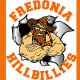 HillbilliesThere is more than one school that uses Hillbillies for a mascot, including Ozark High on Hillbilly Drive in Ozark, Ark., Fredonia High School in Fredonia, N.Y., and Verona High in Verona, N.J. None of them seem to know the history of the mascot. Verona's mascot was originally pictured with a bottle of moonshine and a shotgun, but was later redesigned with a dog and a fishing pole due to concerns of school violence and under-age drinking.Photo: Fredonia Central School District