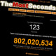 This web site tracks the number of seconds you have been on it, in addition to the combined total number of seconds all visitors globally have spent on the site. Close to 25 years of collective visitor time has been wasted viewing the site, even though it only launched a year ago. My head hurts. Photo Credit: The Most Seconds