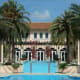 The 14,0000-square-foot home at 94 Palm Avenue has eight bedrooms and eight-and-a-half baths, and is for sale for $16 million. Among its signature features is a mosaic tile pool flanked by spouting water and a cascading waterfall from the spa. Photo Credit: Jill Hertzberg.Coldwell Banker Residential Real Estate - Miami Beach