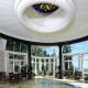 Inside, a dramatic natatorium/ballroom features an elaborate mosaic floor that lowers at the touch of a button ... Photo Credit: Joseph Barbieri/Sotheby's International Realty