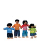 """What they offer: In an attempt to be inclusive of minorities, PlanToys developed a non-white family of dolls that were also environmentally friendly. They're made from """"all-natural organic recycled rubber wood,"""" but this set, including presumably a mother, father, sister and brother, is described with the questionable term, """"ethnic."""" The word """"ethnic"""" seems to be interchangeable for brownish skin tone these days. As an """"ethnic"""" person, it's hard not to look at this without rolling my eyes. Downside: Especially if given to white kids, this set could cause some confusion, and possibly even embarrassment. """"Mommy, is that man ethnic?"""" How would you answer that question? Price: About $16. Photo Credit: kidslandusa.com"""