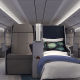 The seats, when fully reclined to lie-flat beds, measure 73.5 inches long and will come with custom blankets, lumbar and pillows, plush duvets and mattress toppers, all of which sounds better than many hotel beds.