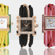 The playful and distinctive Allegra watches from deGrisogono all look as if they should be sold in an ice cream parlor, popped into a parfait glass and topped with tutti frutti confetti sprinkles. They are fun and lively, and, of course, tell time to the millisecond (quartz movement). Priced from $25,900 to $61,200, the watches are crafted in 18-karat. rose gold, and feature sapphires, tsavorites, emeralds, diamonds and other precious stones. All feature lacquer dials and spirited leather bands. For the less adventurous, the ebony and rose-gold model is a bit more demure.