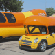 Oscar Mayer introduced the WienerMini in 2008. Made from a Mini Cooper, the vehicle was smaller and easier to move around.