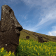 Easter Island is a restoration. It is also a cautionary tale. The great maoi, the heads which made this island famous, are the remnants of a long dead civilization. The islanders of Rapa Nui, the island's name before Dutch explorers renamed it after the day of their arrival, once had a civilization thriving enough to build huge monuments that faced out toward sea. Far from the exposed, sparse terrain of today, the island was once thickly wooded with millions of trees spread across its 63 square mile surface.All of that changed as the population grew.Farmers cut down the island's trees to make room for agriculture, using the wood for construction and boats. They left few trees, then fewer and eventually none. Without those trees and their root structure, the island literally began blowing away. There was nothing left to hold the arable soil in place, nor with which to build fishing boats, and the advanced civilization began to starve and die. By the time Captain Cook arrived only 700 people were left on the island.They had changed their climate almost completely. Today those same forces threaten the maoi, which may topple due to erosion and battering by storms. Soon enough Easter Island may look like it did before its early 20th Century restoration: sparsely inhabited, with its famed statues nothing more than scattered monuments on the ground.