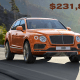 The $231,825 Bentley Bentayga sports the claim of being the fastest SUV in the world. Topping out at 187 miles per hour, this SUV will get the whole family to soccer practice in seconds.