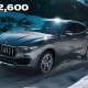 """One of the cheaper options on this list, the $72,600 Maserati Levante is like """"a wave that's been waiting to take shape,"""" according to the car manufacturer, whatever that means."""