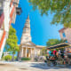 Charleston's popularity as a tourist destination is based on its long and colorful history as well as its streets lined with majestic live oaks draped with Spanish moss.