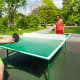 You should be able to keep 6 feet between you and your competition in a game of singles table tennis (no doubles!) and you can play outside, if there's space. The International Table Tennis Federation suggests using your own equipment and balls (you can mark them) and avoid touching the table or switching sides. There are even table tennis robots so you can play solo.