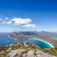 """The Freycinet peninsula is known as the """"jewel of Tasmania's coastline."""" The land's scenic beauty showcases warm white beaches, deep azure waters, crisp sea air and views of the rosy pink Hazards mountain range."""