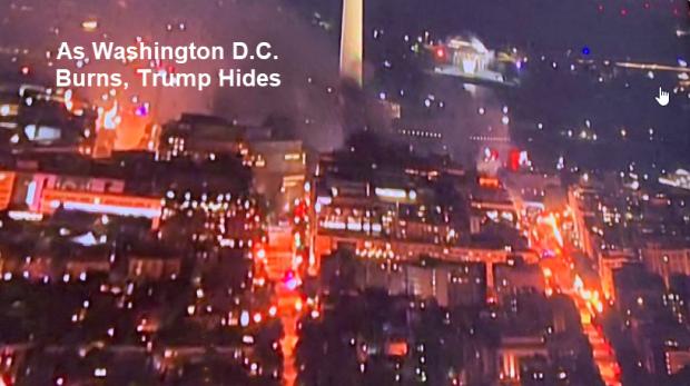 اجتجاجات امريكا الان -- متابعه   As-washington-dc-burns-trump-hides-2