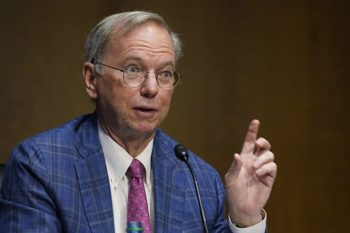Eric Schmidt, former Google CEO, speaks on Capitol Hill in Washington, US, on February 23, 2021, during a hearing on emerging technologies and their impact on national security. Photo: AP Photo