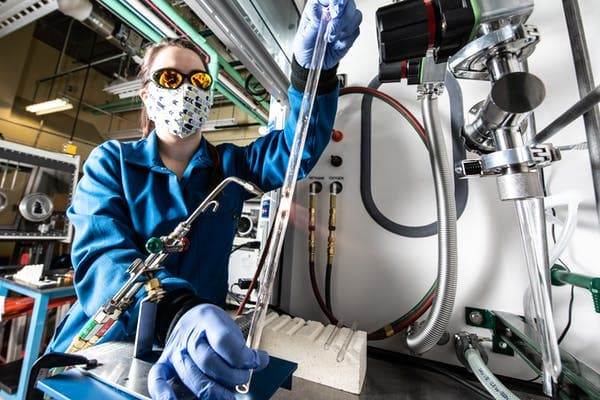 At the National Renewable Energy Lab, Annalise Maughan makes components for research and development of solid-state batteries. Dennis Schroeder/NREL