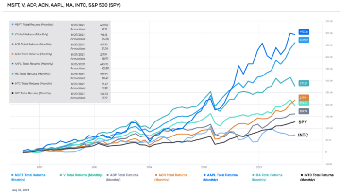 Comparison of the total returns of the top-ranked Information Technology sector stocks over the past ten years (source: Portfolio-Insight.com)