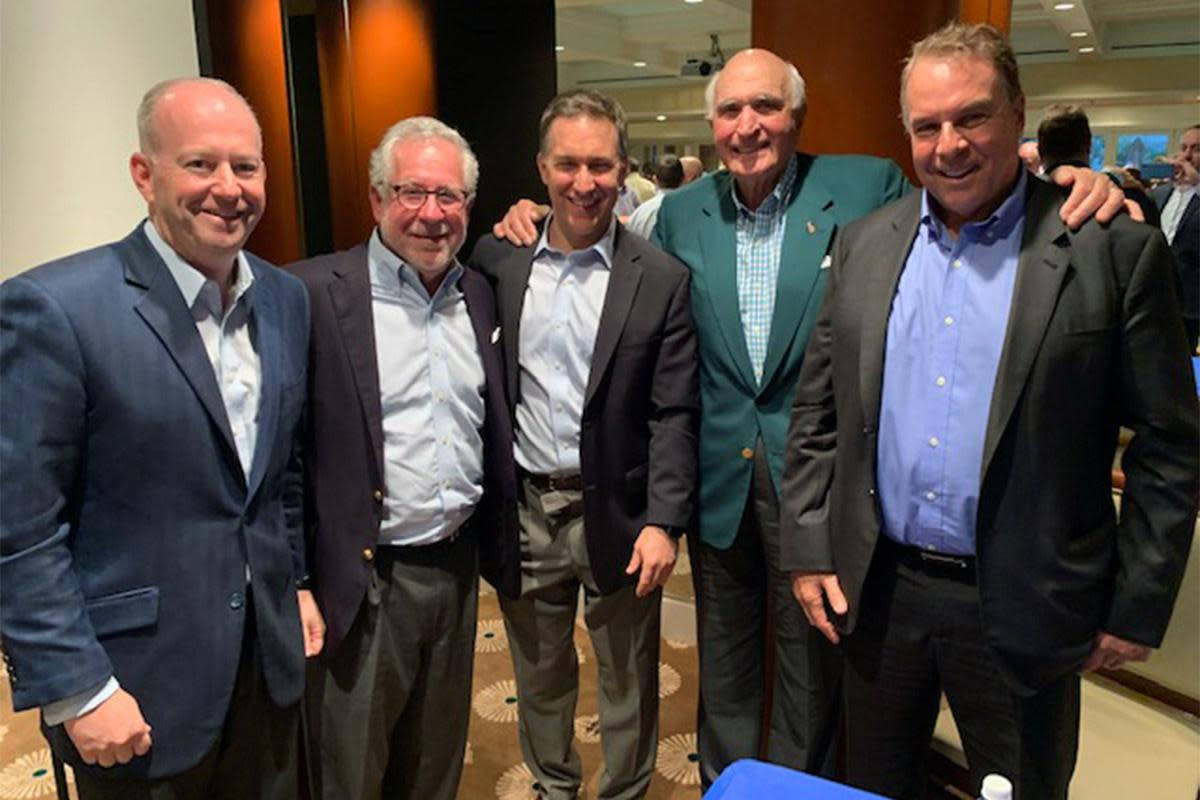 Kass, second from left, recently hosted a forum with top business and political leaders, including former U.S. Sen. George Lemieux (R-Fla.), left, and mega-financier Ken Langone, second from right.