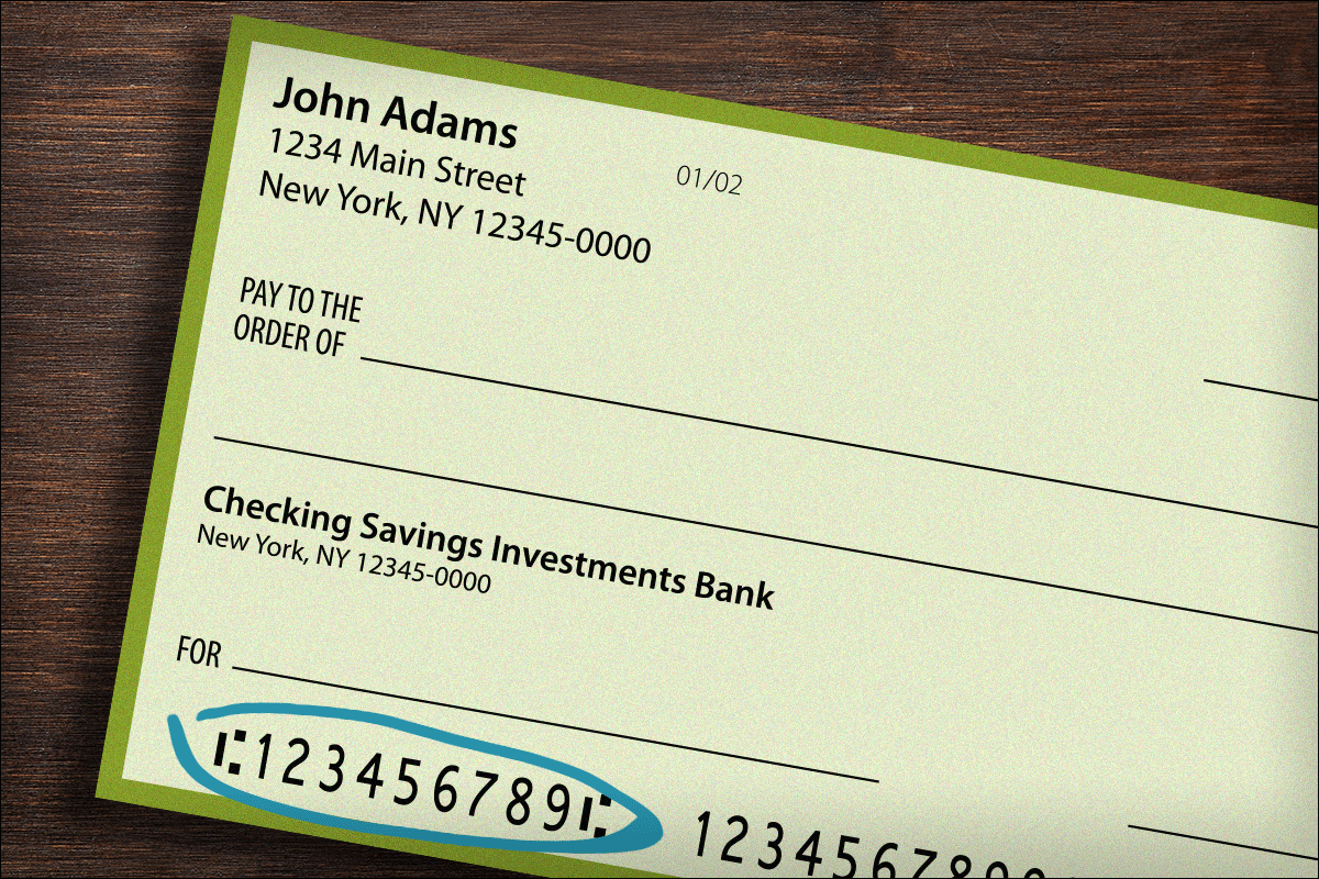 Routing numbers on a check.