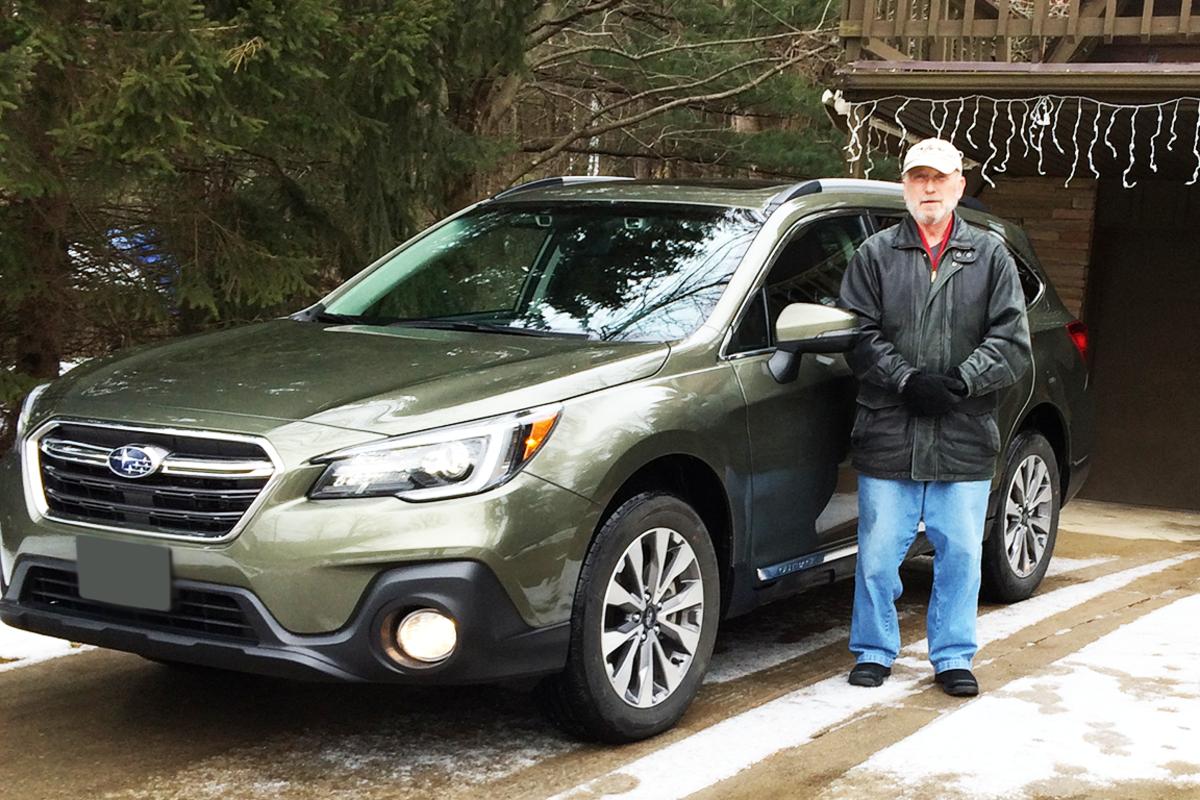 Randy Stenhouse and his new Subaru.