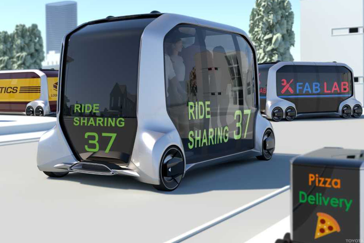 Toyota's e-Palette concept car is expected to begin testing in the U.S. in the early 2020s.