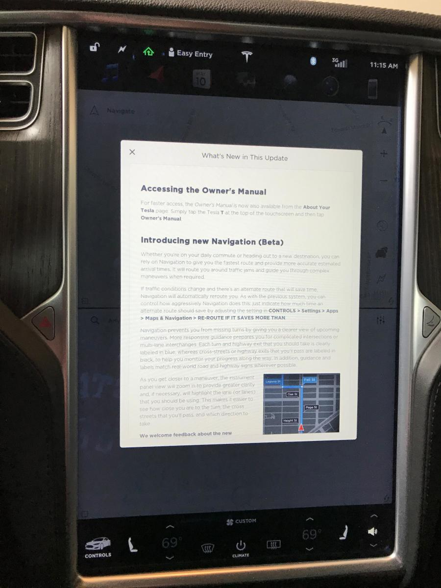 A software update detail page on a Tesla Model S.