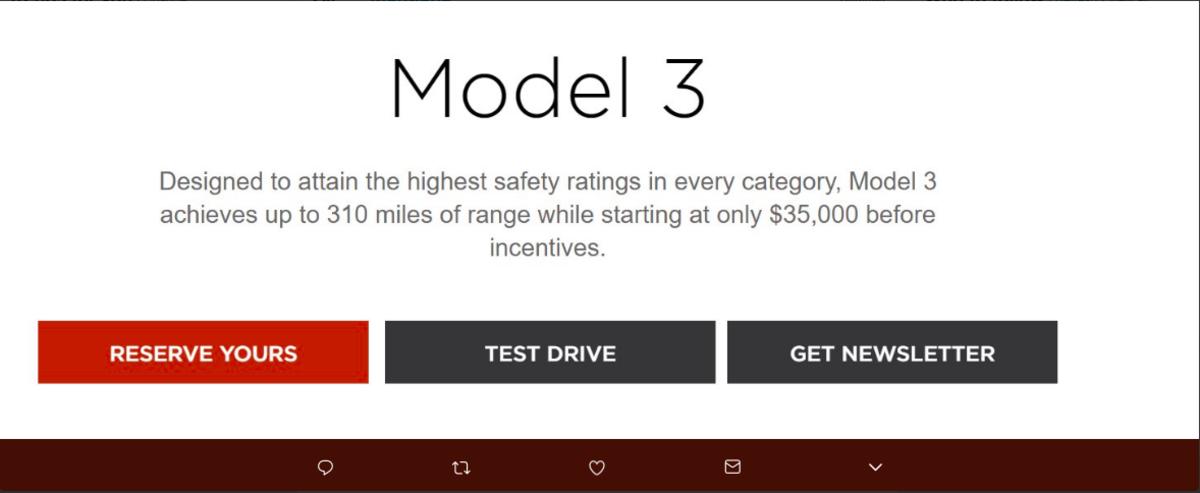 Screenshot of Tesla's website before latest revamp