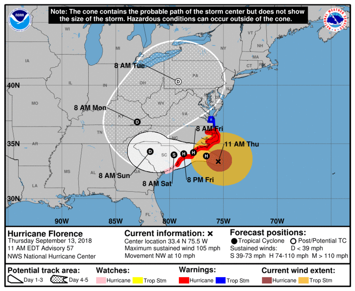An updated image of Florence and its path from the National Hurricane Center's website.