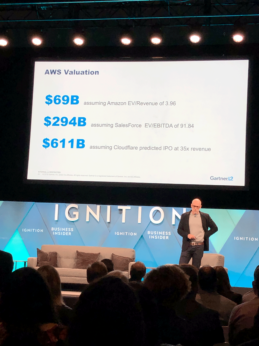 Galloway thinks AWS's valuation could vary a lot depending on which comps are used.