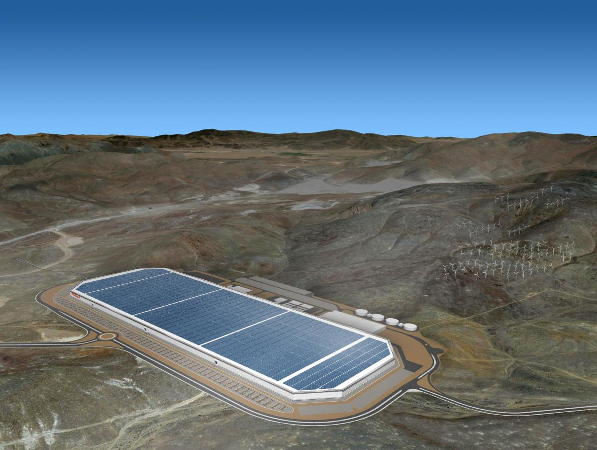 A rendering of Tesla's Gigafactory in Sparks, NV when completed. Source: Tesla Inc.