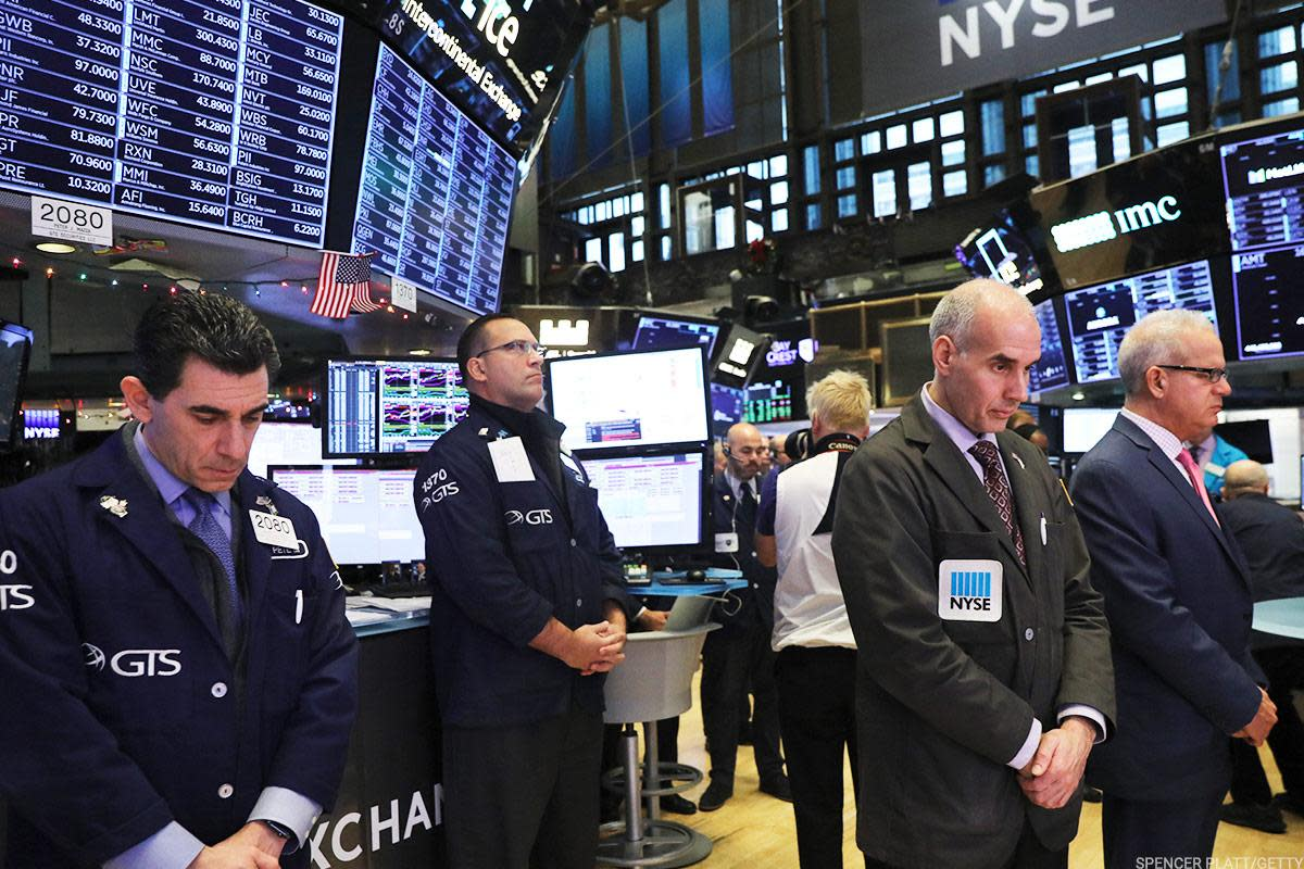 Traders observed a moment of silence Monday at the New York Stock Exchange for late President George H.W. Bush, who died on Friday at 94.