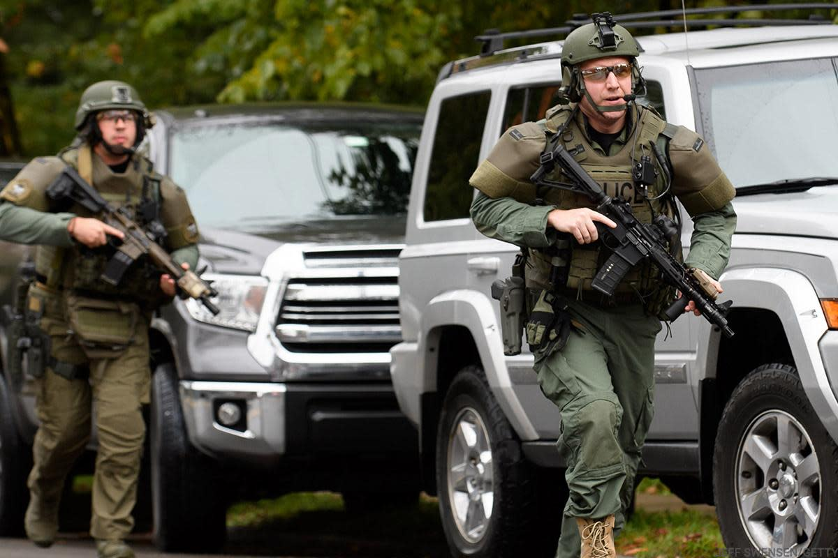 Heavily armed police were on the scene at a Pittsburgh synagogue where multiple people were apparently shot.