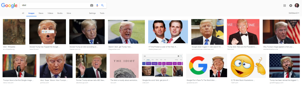 How Trump's image appears when you search for the word idiot on Google.