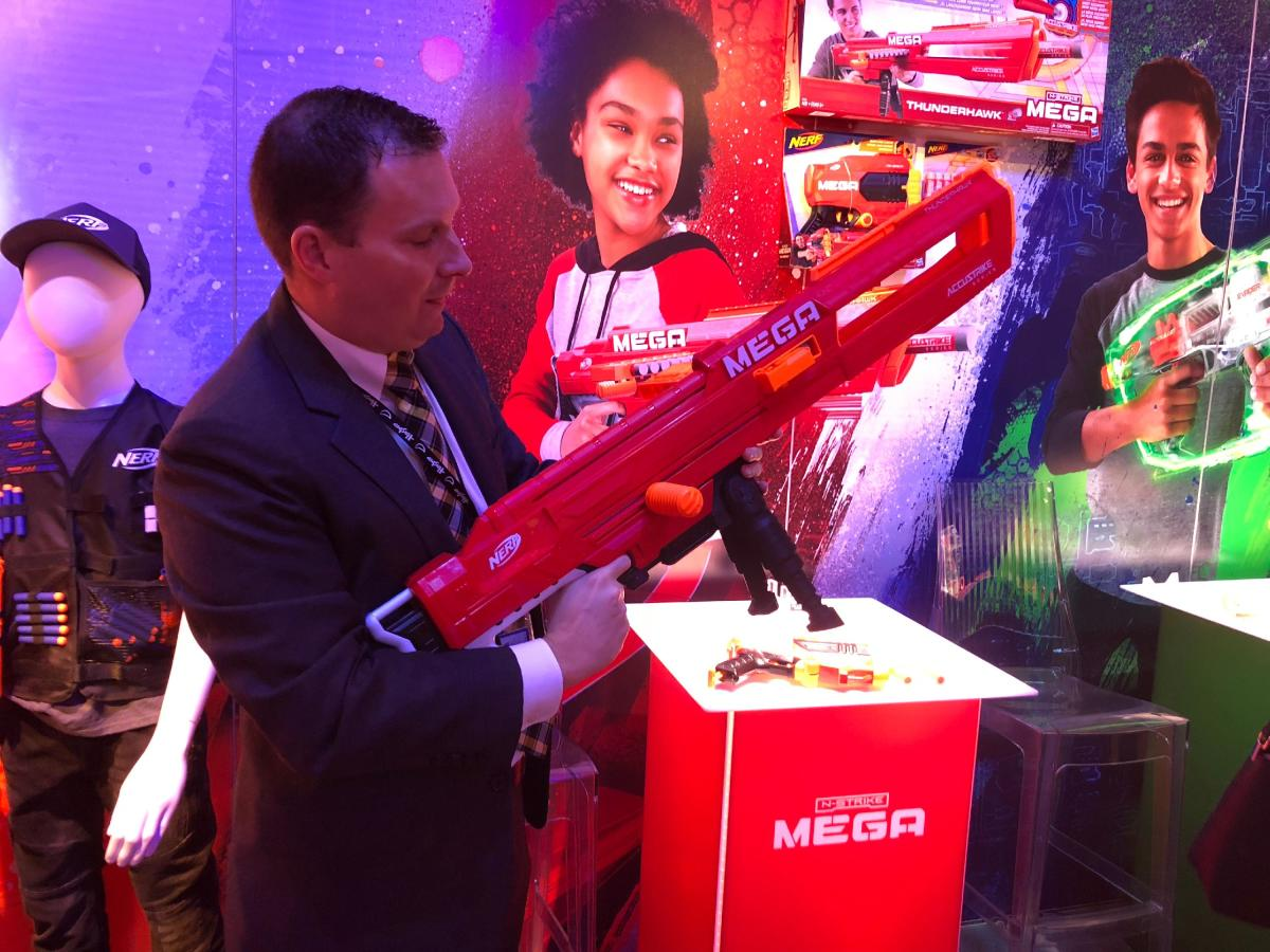 Keep in mind Hasbro also has the hot-selling Nerf brand. New blaster seen here. Source: Brian Sozzi
