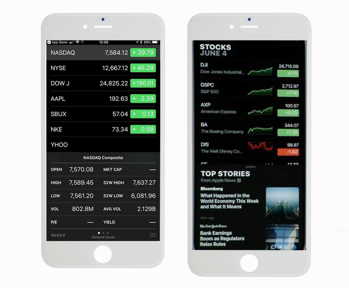 The old version of Apple's Stocks app, left, vs. the new version.
