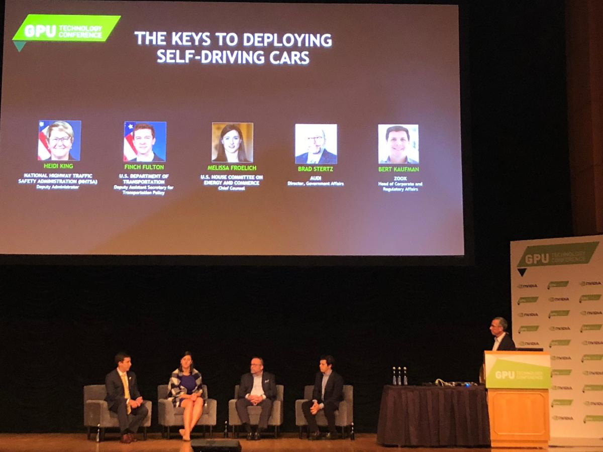 From left to right, the DOT's Finch Fulton, Melissa Froelich of the House Committee for Energy and Commerce, Audi's Brad Stertz and Zoox's Bert Kaufman. Moderating on the far right is Nvidia's Danny S