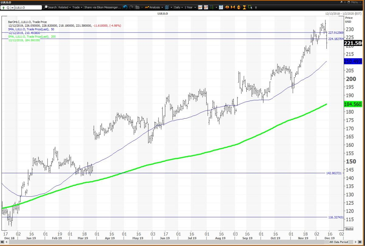 Stock could not hold its quarterly and monthly pivots at $227.93 and $224.15