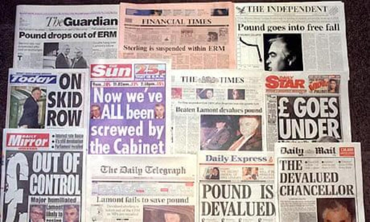 Black Wednesday – 16 September 1992. How the newspapers reported the sterling crisis.