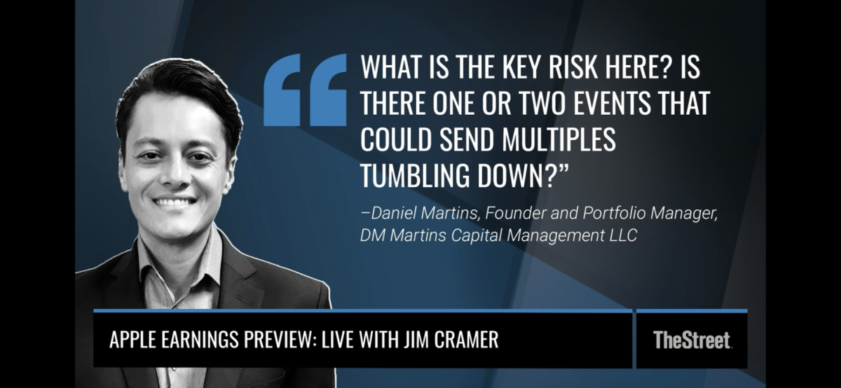 Screen short of Apple Maven's Daniel Martins and his question to Jim Cramer on The Street