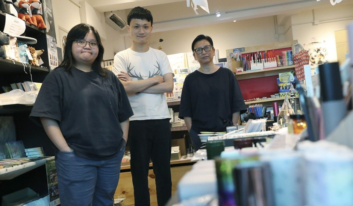 (L-R) Natalie Wong; Parco Lai and Pauline Wong, the founder of The Tree Stationery & Co. in Causeway Bay. Photo: Edmond So