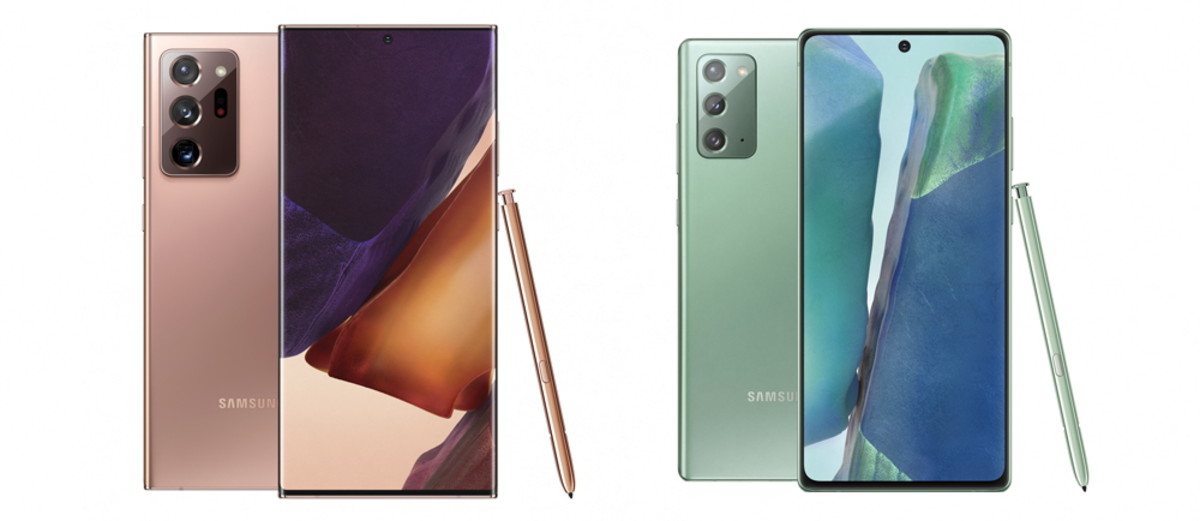 The Galaxy Note20 Ultra and standard Note20. Source: Samsung.