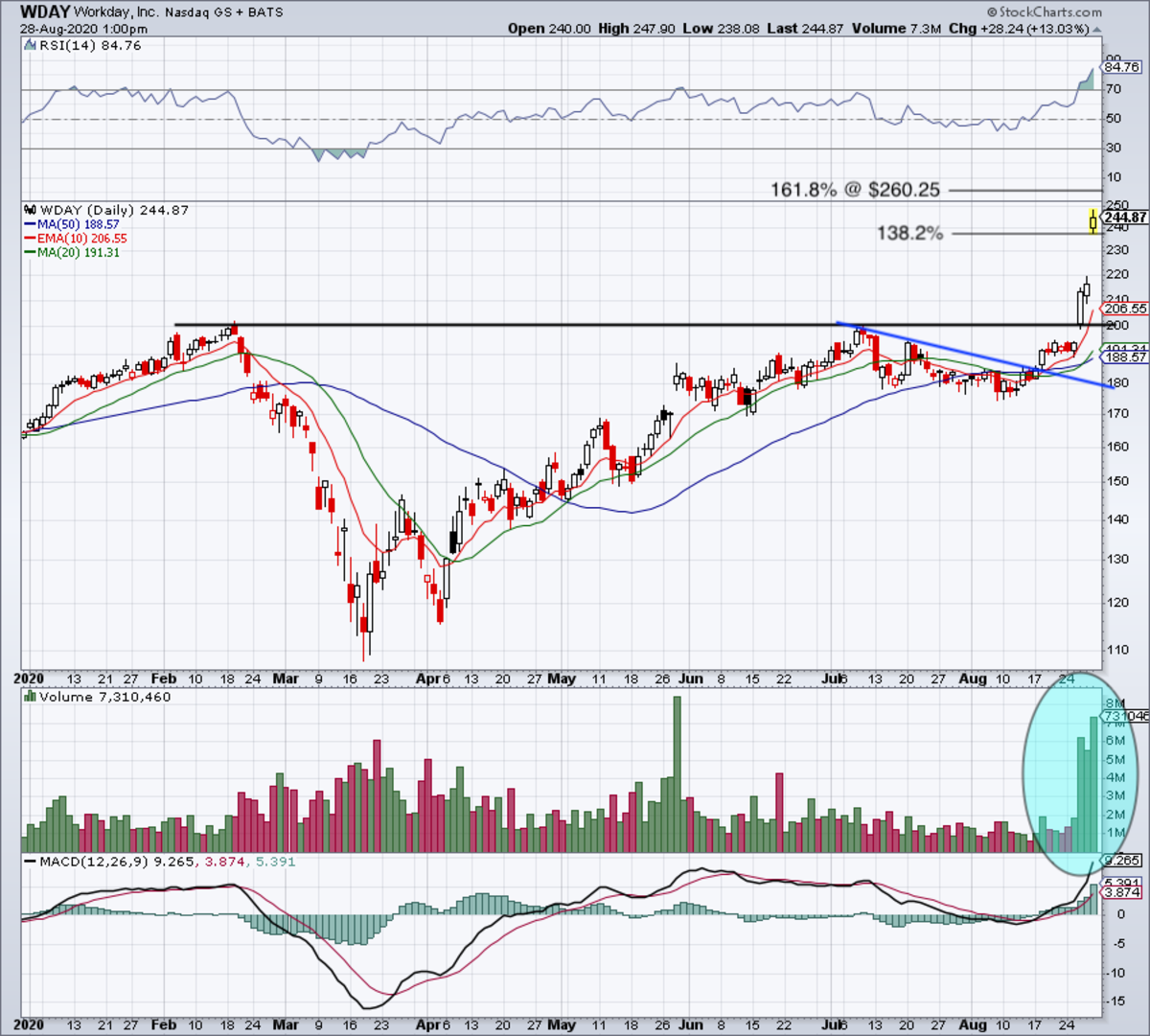 Daily chart of Workday stock.