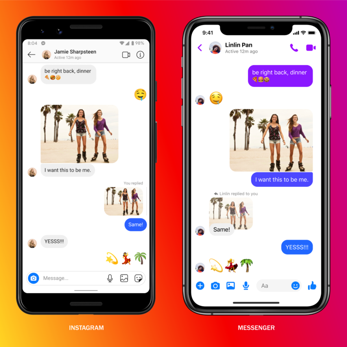 Instagram and Facebook Messenger's messaging interfaces going forward. Source: Facebook.