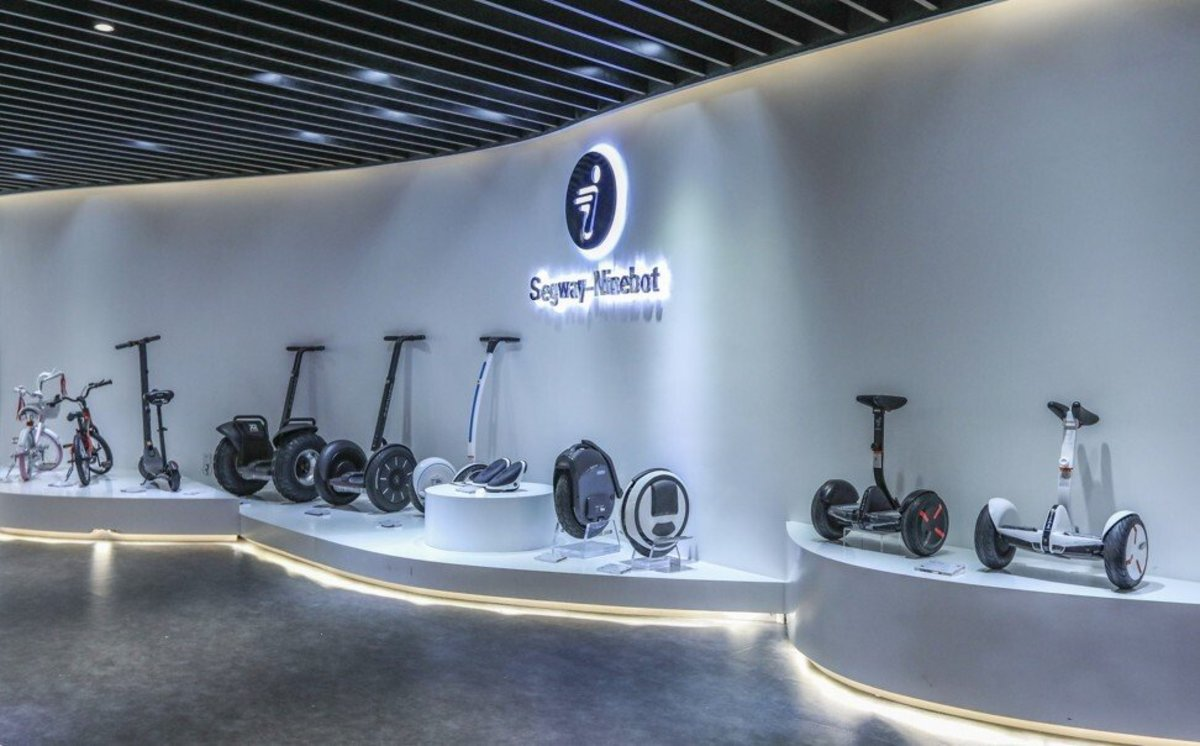 Segway-Ninebot on display at the Consumer Electronics Exchange/Exhibition Centre (CEEC) at the Upper Hills in Futian district, Shenzhen in September 2018. Photo: Roy Issa
